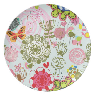 Floral pattern in retro style 2 party plate