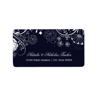 Floral Pattern Navy/White - Address Labels