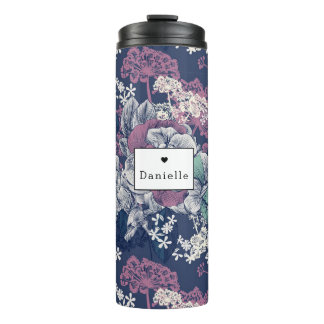 Floral Pattern Personal Name Travel Mug
