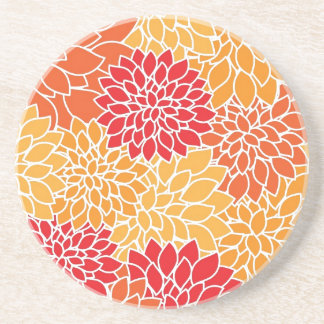 Floral Pattern Vintage Orange Red Dahlias Flowers Drink Coaster