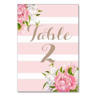 Floral Peonie Table Number Cards Weddings