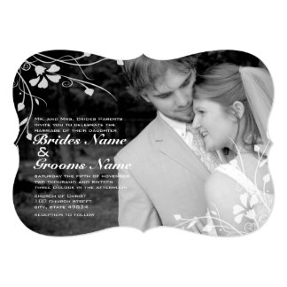 Floral Photo Wedding Invitation