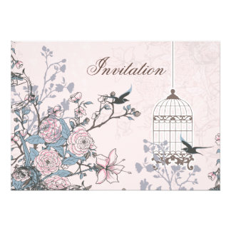 floral pink bird cage, love birds invites