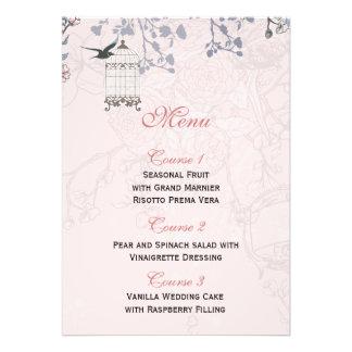 floral pink bird cage, love birds Menu Cards