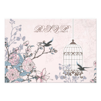 floral pink bird cage, love birds RSVP 3.5 x 5 Personalized Invite