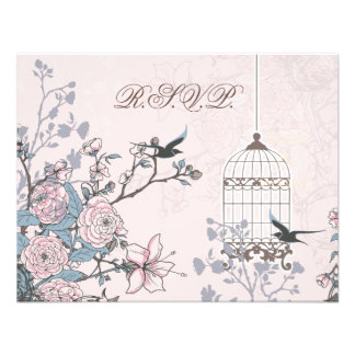floral pink bird cage, love birds RSVP Personalized Invitation