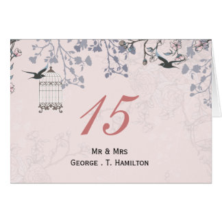 floral pink bird cage love birds table numbers greeting cards