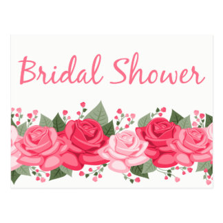 Floral Pink Bridal Shower Rose Flowers Invitation Postcard
