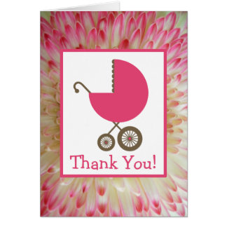 Floral & Pink Carriage Baby Shower Thank You Greeting Card