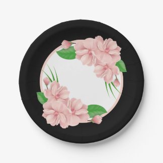 Floral Pink Flowers Black Wedding / Party 7 Inch Paper Plate