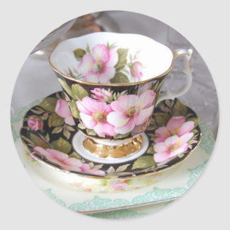 Floral Pink & Gold Teacup Stickers