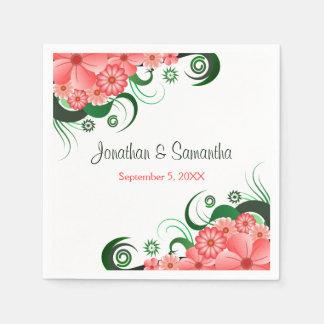 Floral Pink Hibiscus Custom Wedding Paper Napkins