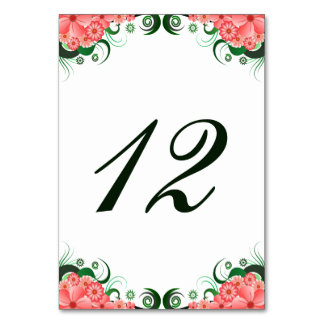 Floral Pink Hibiscus Reception Table Number Cards Table Cards
