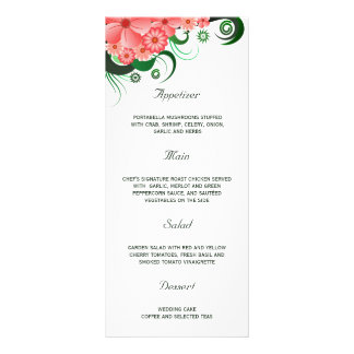 Floral Pink Hibiscus Wedding Dinner Menu Cards Rack Card