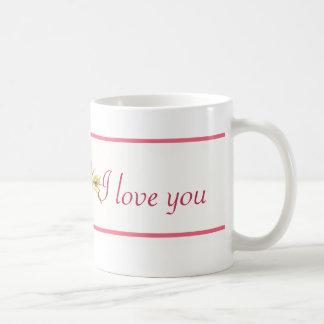 """Floral pink mug """"I love you"""" 11 oz"""