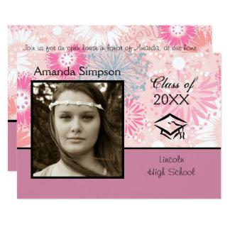 Floral & Pink Photo - Graduation Announcement