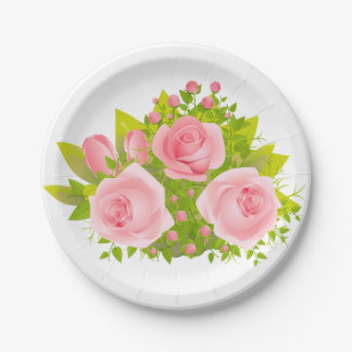 Floral Pink Rose Flowers - Wedding Party Paper Plate