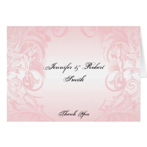 Floral Pink Vintage Wedding Thank You Greeting Card