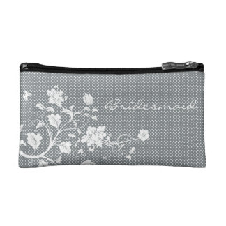 Floral Polka Dot Bridesmaid Makeup Bag