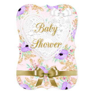 Floral Purple and Gold Baby Shower Invitation