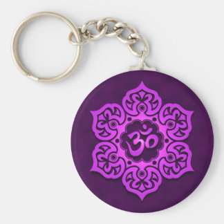 Floral Purple Aum Design Key Ring