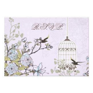 floral purple bird cage, love birds RSVP 3.5 x 5 Announcements