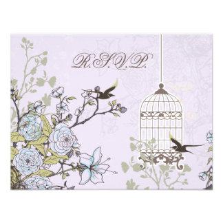 floral purple bird cage, love birds RSVP Personalized Invitations