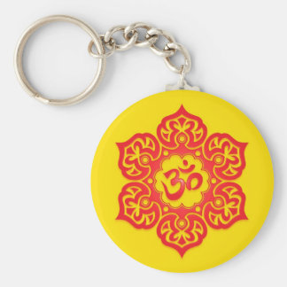 Floral Red and Yellow Aum Design Key Ring