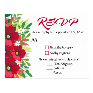 Floral Red RSVP Burgundy Flowers Watercolor Party Postcard