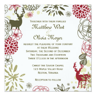 Floral Reindeer Christmas Wedding Invitation