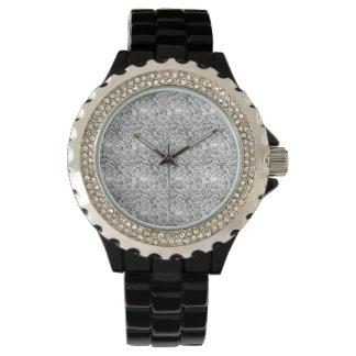 floral Rhinestone Black Enamel Watch