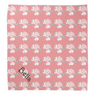 Floral Rose Pattern White Pink Mint Art Petwear Bandana