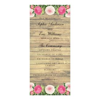 Floral rustic vintage rose wedding program full colour rack card
