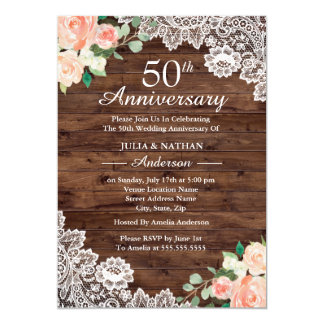 Floral Rustic Wood Lace 50th Wedding Anniversary Card