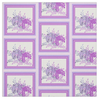 Floral Shades of Purple Mosaic Pattern Fabric