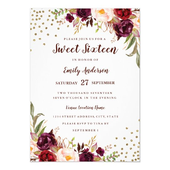 Floral Sparkle Burgundy Red Sweet Sixteen Invite