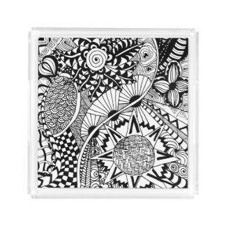 Floral Style Doodle Acrylic Tray