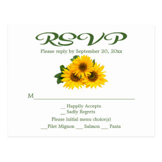Floral Sunflower RSVP Green Yellow Wedding Party Postcard