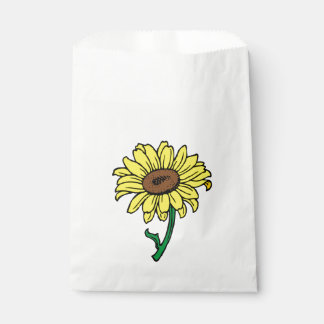 Floral  Sunflower Yellow Green Flowers Wedding Favour Bags