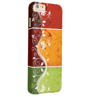 floral swirl art on red orange green background barely there iPhone 6 plus case
