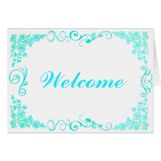 Floral Swirl Decorative Boarder with Welcome Greeting Card
