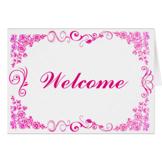 Floral Swirl Decorative Boarder with Welcome Note Card