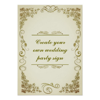 Floral Swirl Decorative Border Wedding Party Sign Poster