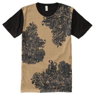 Floral swirl modern trendy guy's fashion tee All-Over print T-Shirt