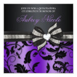 Floral Swirl Quinceañera Invite With Jewelled Bow