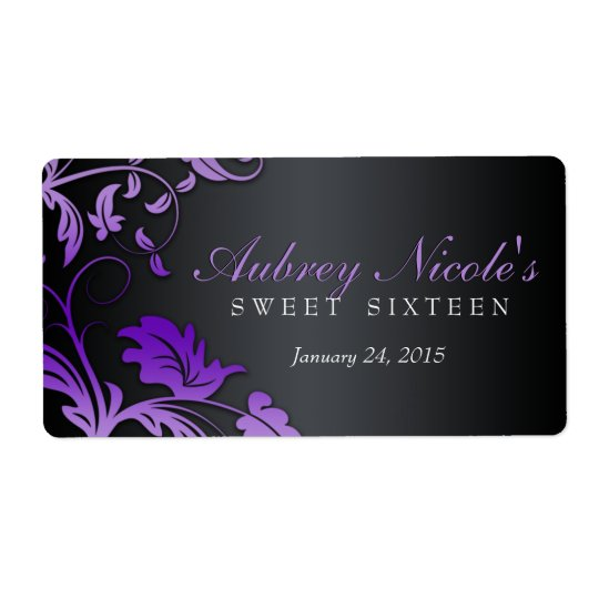 Floral Swirl Sweet Sixteen Water Bottle Label Shipping Label