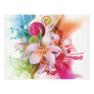 Floral swirly design in bright colors postcard