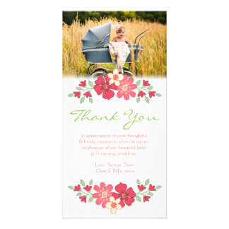 Floral Thank You Baby Girl Photo Card Template