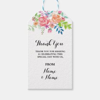 Floral Thank You Tag Floral Elegant Wedding Favour