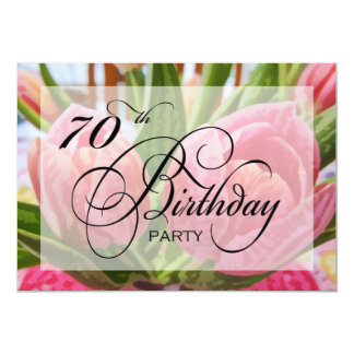 Floral Tulip 70th Birthday Party Invitation